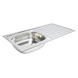 Kitchen Sink & Drainer Stainless Steel 1 Bowl 940 x 490mm