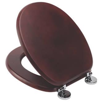 Croydex Davos Standard Closing Toilet Seat Pine Mahogany Effect