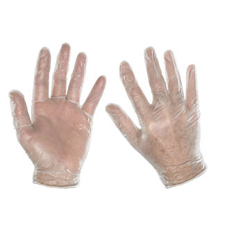 Cleangrip  Vinyl Powdered Disposable Gloves Clear Large 100 Pack
