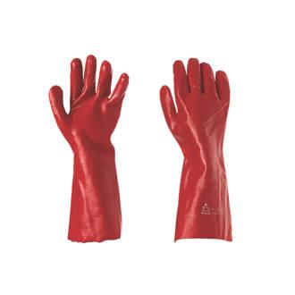 """Keep Safe  PVC 16"""" Gauntlets Red Large"""
