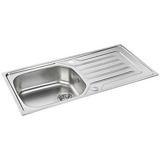 Carron Phoenix Onda Reversible Sink & Drainer Stainless Steel 1 Bowl 860 x 500mm