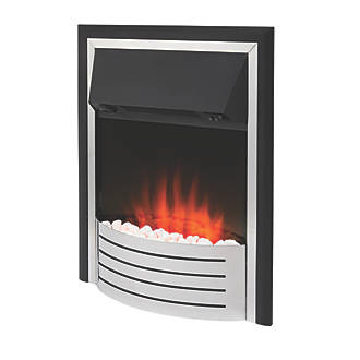 Glen Fulford Stainless Steel / Black Switch Control Plug-In Electric Inset Fire
