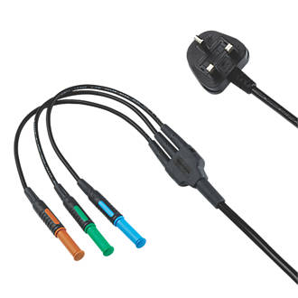 Kewtech KAMP12 4mm Mains Test Lead 13A Plug Adaptor 1.19m
