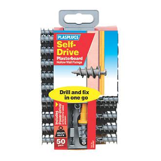 Plasplugs Self-Drive Plasterboard Fixings Nylon 33mm 50 Pack