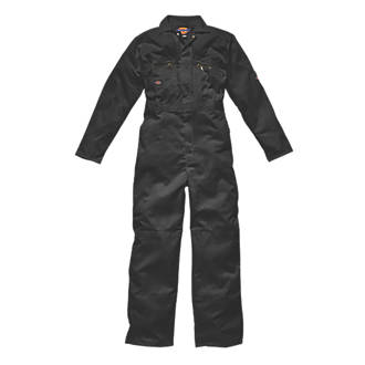 """Dickies Redhawk Zip Front Coverall Black Large 44"""" Chest 30"""" L"""