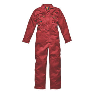 """Dickies Redhawk Zip Front Coverall Red Medium 42"""" Chest 30"""" L"""