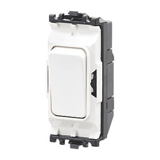 MK Grid Plus 10A 2-Way Grid Light Switch White with Colour-Matched Inserts