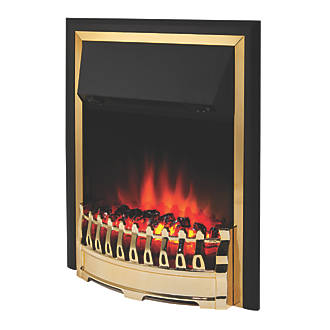Glen Crofton Brass Switch Control Plug-In Electric Inset Fire