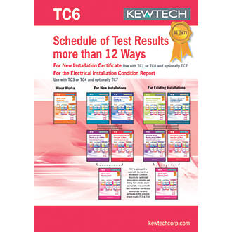 Kewtech TC6 Schedule of Test Results More Than 12 Ways 20 Certificates