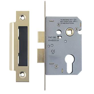 Smith & Locke Electro Brass Euro Profile Sashlock 76mm Case - 57mm Backset