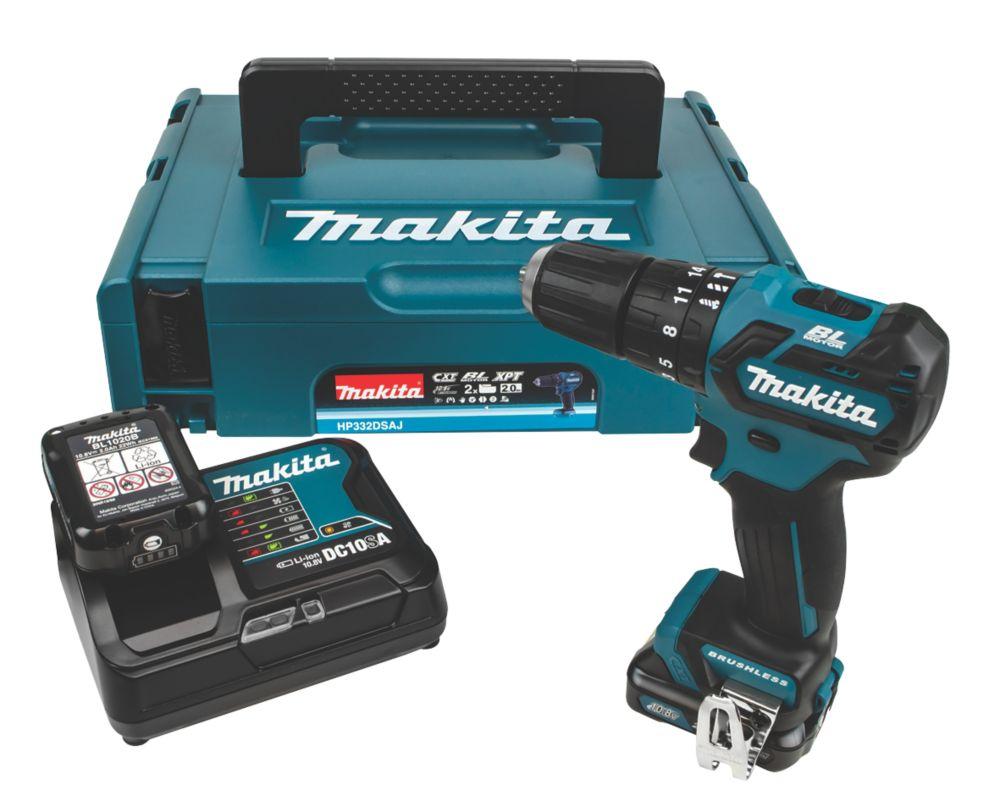 Makita HP332DSAJ 10.8V 2.0Ah Li-Ion CXT Brushless Cordless Combi Drill