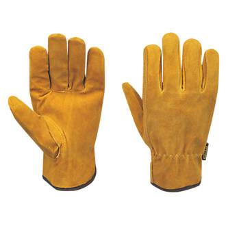 Stanley  Split Cowhide Leather Driver Gloves Brown Large