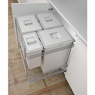 Hafele Pull-Out Kitchen Bin Grey 3 x 24 Ltr & 1 x 6Ltr