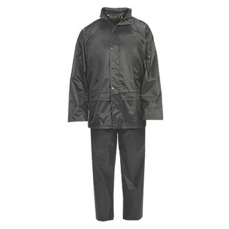 """Hooded 2-Piece Rain Suit Green X Large 56"""" Chest"""