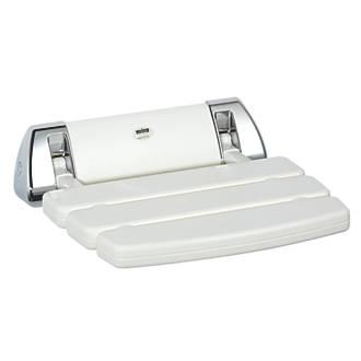 Mira Wall-Mounted Shower Seat White / Chrome