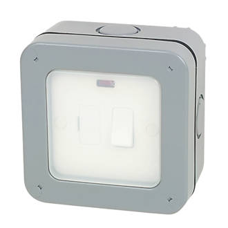 British General  IP66 13A Weatherproof Outdoor Switched Fused Spur & Flex Outlet with Neon
