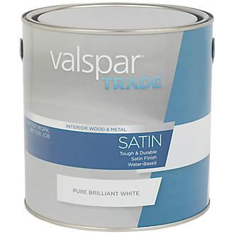 Valspar Trade Satin Wood & Metal Paint Pure Brilliant White 2.5Ltr