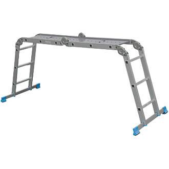 Mac Allister  4-Section Aluminium Folding Ladder With Platform 3.17m