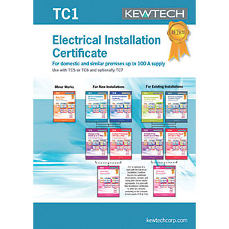 Kewtech TC1 New Electrical Installations Up To 100A Supply 10 Certificates