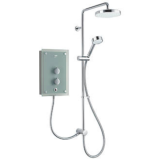 Mira Azora Dual Frosted Green 9.8kW Thermostatic Dual Outlet Electric Shower