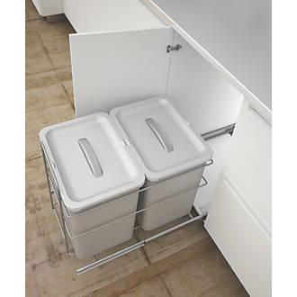 Hafele Pull-Out Kitchen Bin Grey 2 x 16Ltr