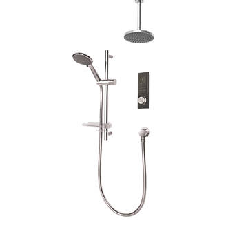 Triton H2ome Gravity-Pumped Ceiling & Rear Fed Dual Outlet Black Thermostatic Digital Mixer Shower