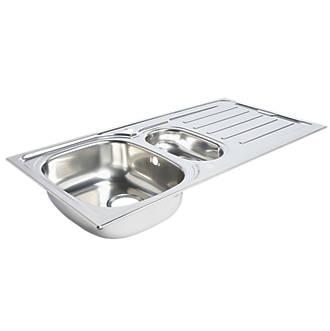 Kitchen Sink & Drainer Stainless Steel 1.5 Bowl 1000 x 500mm