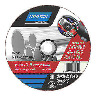 """Norton  Stainless Steel Metal Cutting Disc 9"""" (230mm) x 1.9 x 22.2mm"""