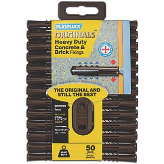 Plasplugs  Solid Wall Fixing 7 x 40mm 50 Pack