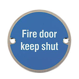 Fire Door Keep Shut Sign Satin Stainless Steel 76mm