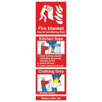 """Fire Blanket"" Kitchen Fire Sign 300 x 100mm"