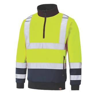 Dickies SA22092 Hi-Vis Quarter Zip Sweatshirt Yellow / Navy XX Large  Chest