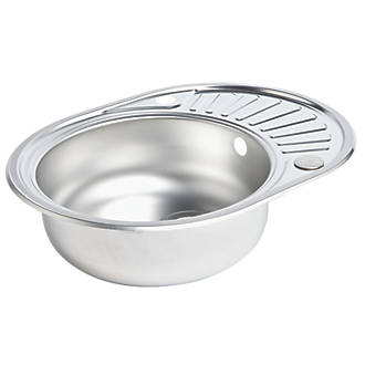 Spacesaver Round Kitchen Sink & Drainer Stainless Steel 1 Bowl 570 x 450mm
