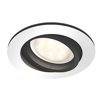 Philips Hue Miliskin Adjustable Head GU10 LED Recessed Smart Lighting Downlight & Wireless Dimming Switch Aluminium Effect 5.5W 250lm