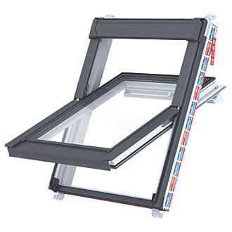Keylite  P02 Manual Centre-Pivot Polar White uPVC Roof Window Clear 550 x 980mm