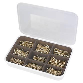 Easyfix Brass-Plated Screw Hooks & Eyes Grab Pack 215 Pcs