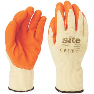 Site KF380 Latex Builders Gloves Orange / Yellow  Large