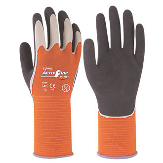 Towa ActivGrip XA-325 Latex-Coated Finger Gloves Grey / Orange Medium