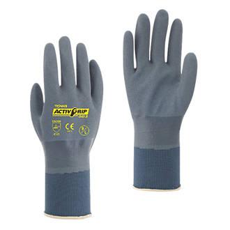 Towa ActivGrip 503 Fully-Coated Nitrile Gloves Grey / Purple Medium