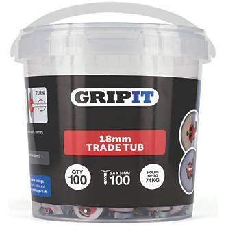 GripIt  Plasterboard Fixing 18 x 14mm 100 Pack