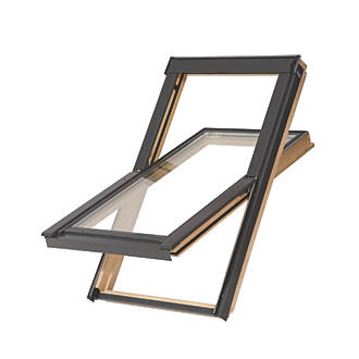Tyrem  C4A Manual Centre-Pivot Lacquered Natural Pine  Roof Window Clear 550 x 980mm