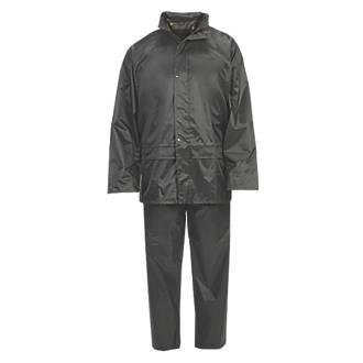 "Hooded 2-Piece Rain Suit Green Medium 52"" Chest"