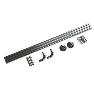 Croydex Straight Shower Curtain Rail System Aluminium Chrome 900-1760mm