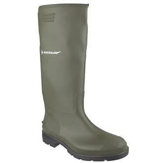 Dunlop Pricemaster 380VP   Non Safety Wellies Green Size 6