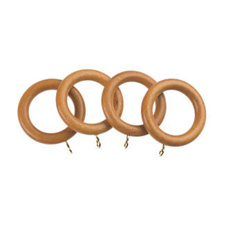 Universal Wooden 28mm Curtain Rings Antique Pine 4 Pack
