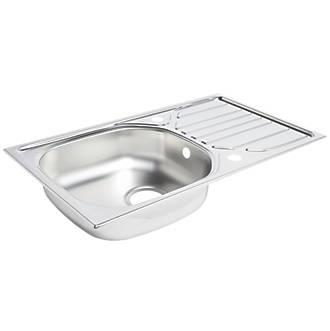 Kitchen Sink & Drainer Stainless Steel 1 Bowl 760 x 430mm
