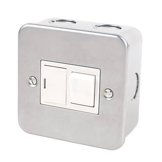 13A Switched Metal Clad Fused Spur & Flex Outlet  with White Inserts