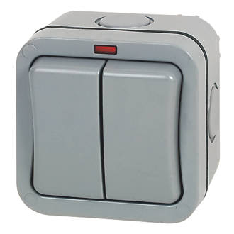 British General  IP66 20A 2-Gang 2-Way Weatherproof Outdoor Switch with Neon
