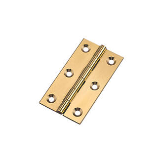 Polished Brass  Butt Hinges 64 x 35mm 2 Pack