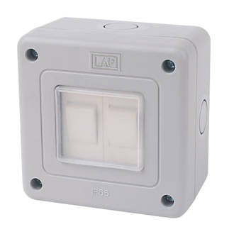 LAP  IP66 10AX 2-Gang 2-Way Weatherproof Outdoor Switch
